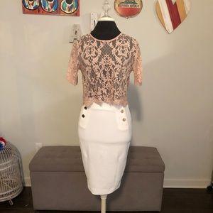 Skirt: H&M skirt sz6 (S/M) TOP: F21 pink top so S